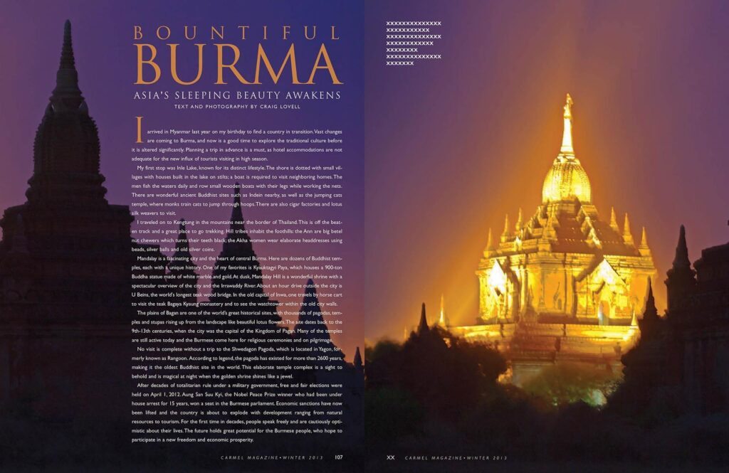Article on Burma published in Carmel Magazine with photography by Craig Lovell