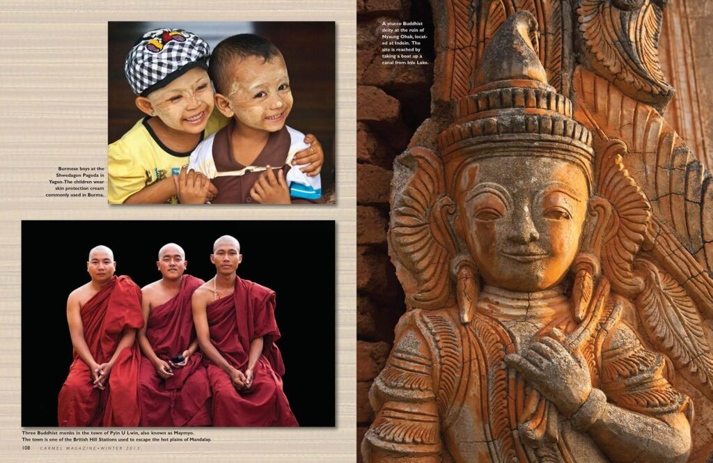Multi image layout on Burma published in Carmel Magazine with photography by Craig Lovell