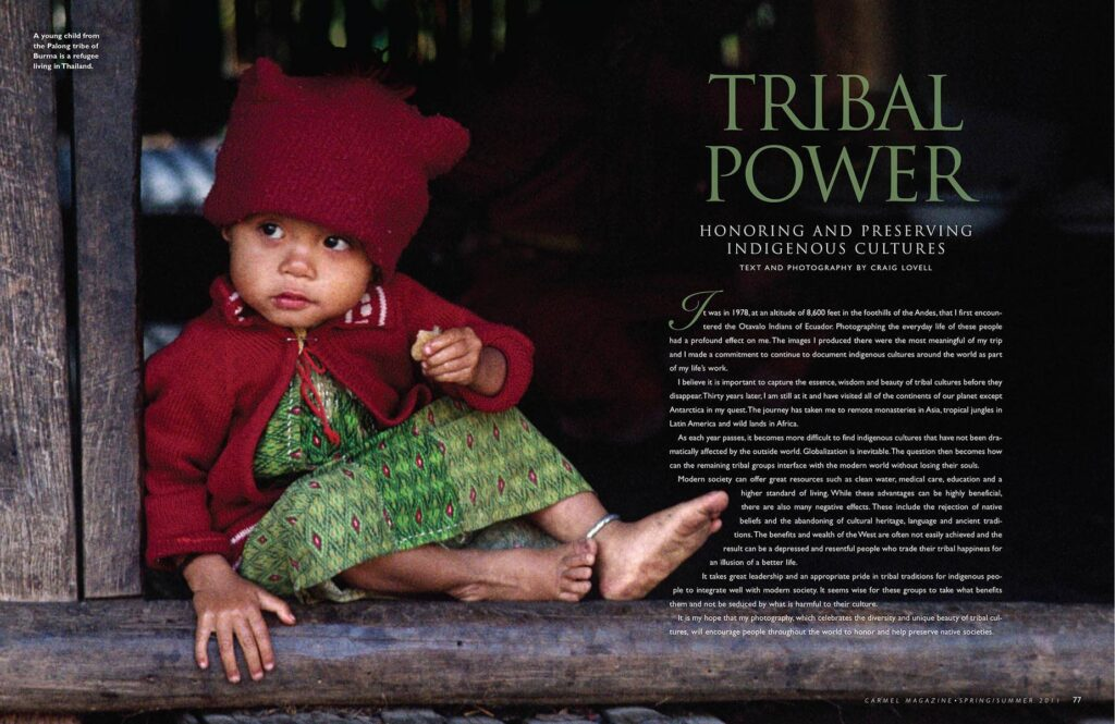 This double page spread was the lead in to Tribal Power published by Carmel Magazine.