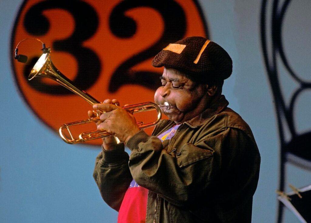 Trumpeter Dizzy Gillespie performs at the Monterey Jazz Festival. Monterey, California, USA