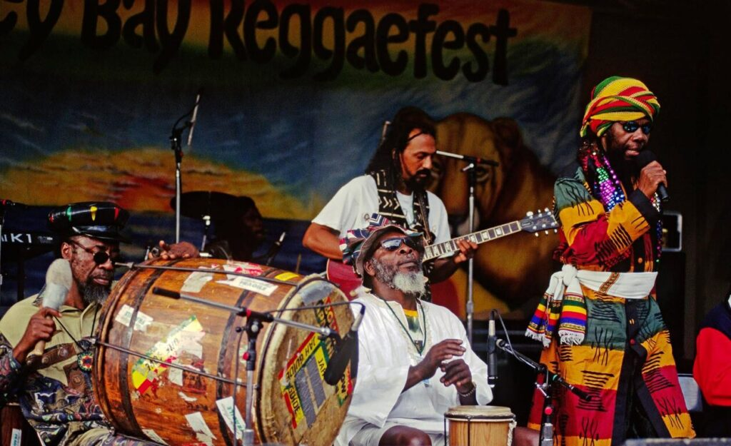 RAS MICHAEL and his BAND play at the MONTEREY BAY REGGAE FESTIVAL - CALIFORNIA