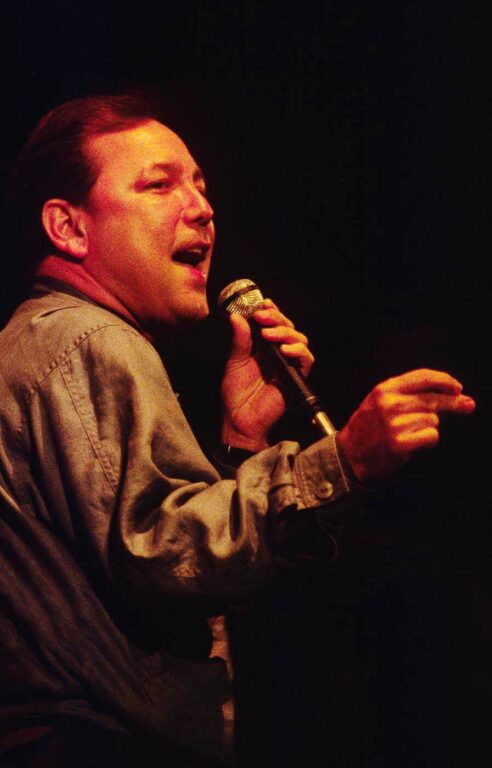 RUBEN BLADES SINGS in front of his band at the MONTEREY JAZZ FESTIVAL - CALIFORNIA