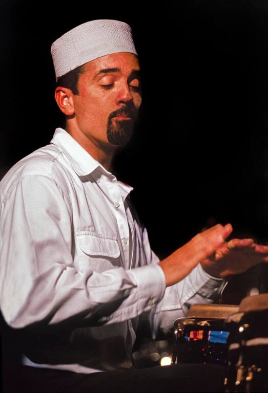 JOHN SANTOS plays the CONGAS with his band MACHETE at the MONTEREY JAZZ FESTIVAL - CALIFORNIA