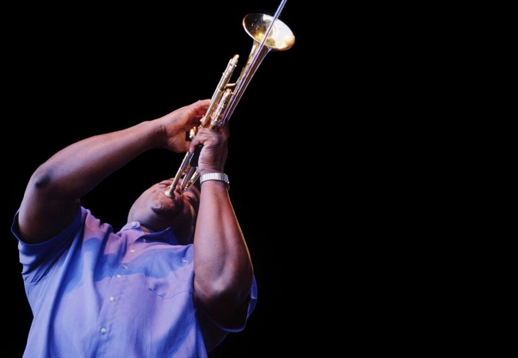 JESSE MCGUIRE plays virtuoso TRUMPET with TOWER OF POWER at the MONTEREY JAZZ FESTIVAL - CALIFORNIA
