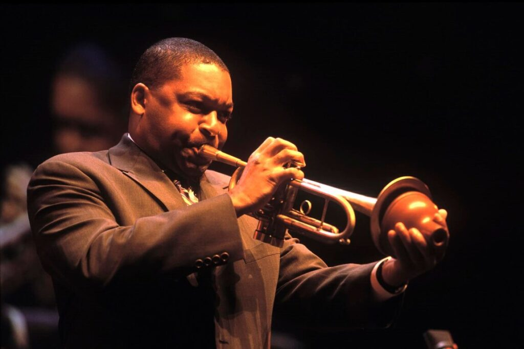 """Wynton Marsalis performing """"United in Swing"""" with the Lincoln Center Jazz Orchestra during the Monterey Jazz Festival. Monterey, California, USA"""