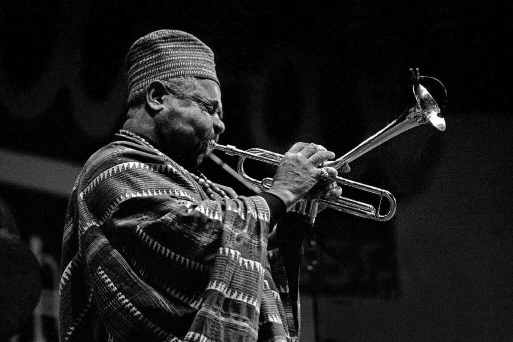 DIZZY GELESPIE plays his trumpet at the MONTEREY JAZZ FESTIVAL in 1984 - MONTEREY, CALIFORNIA