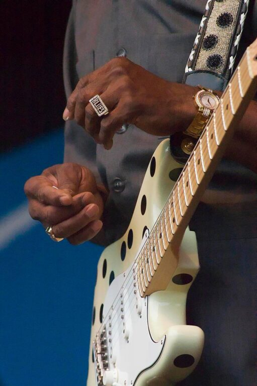 The hands of Buddy Guy, his blues ring and guitar and sings at the MONTEREY JAZZ FESTIVAL - CALIFORNIA