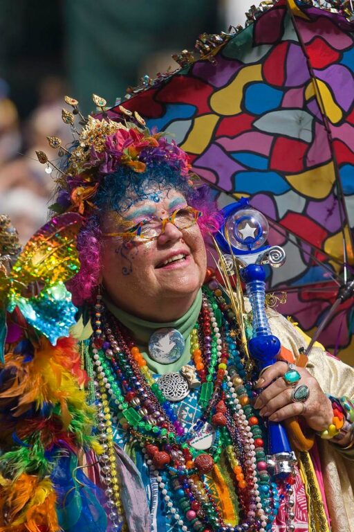 The RAINBOW LADY has been a fixture at the festival for decades here seen at the 50th anniversary MONTEREY JAZZ FESTIVAL - MONTEREY, CALIFORNIA