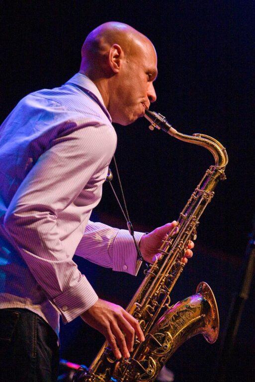 Joshua Redmond plays tenor saxophone with his Trio at the 51st MONTEREY JAZZ FESTIVAL - MONTEREY, CALIFORNIA
