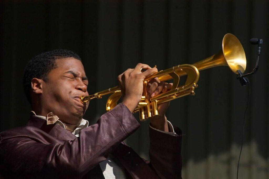 CHRISTIAN SCOTT plays trumpet with the Berklee Monterey Quartet at the MONTEREY JAZZ FESTIVAL - CALIFORNIA