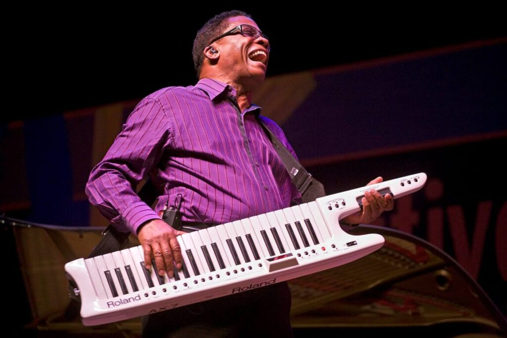 HERBIE HANCOCK plays a roland electric piano at the 51st MONTEREY JAZZ FESTIVAL - MONTEREY, CALIFORNIA