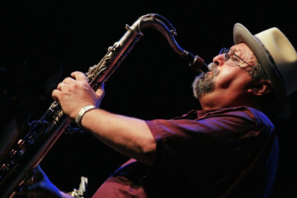 JOE LOVANO plays saxophone with the JOHN PATITUCCI TRIO at the 2009 MONTEREY JAZZ FESTIVAL - CALIFORNIA