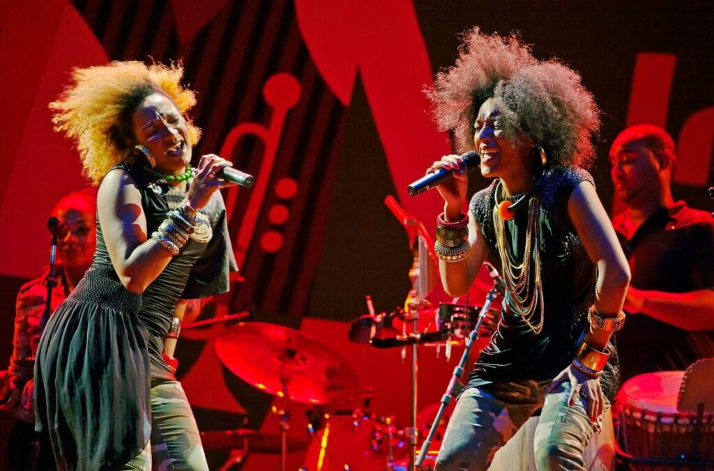 CELIA and HELENE FAUSSART sing as LES NUBIANS on the Jimmy Lyons Stage - 2010 MONTEREY JAZZ FESTIVAL, CALIFORNIA