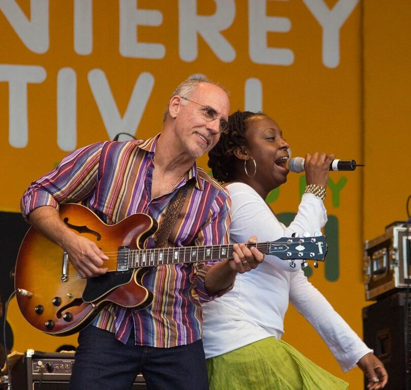 Vocalist Ledisi sings with  LARRY CARLTON and the SAPPHIRE BLUES BAND at the MONTEREY JAZZ FESTIVAL