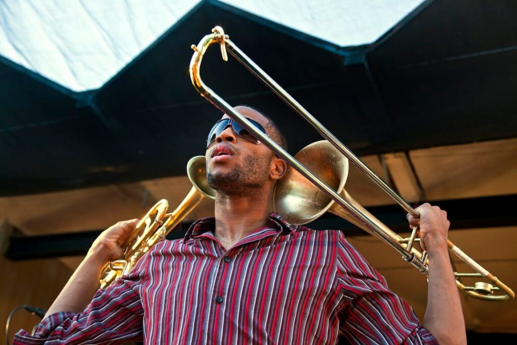 TROY ANDREWS know as TROMBONE SHORTY performs with his band on the Garden Stage - 2010 MONTEREY JAZZ FESTIVAL, CALIFORNIA