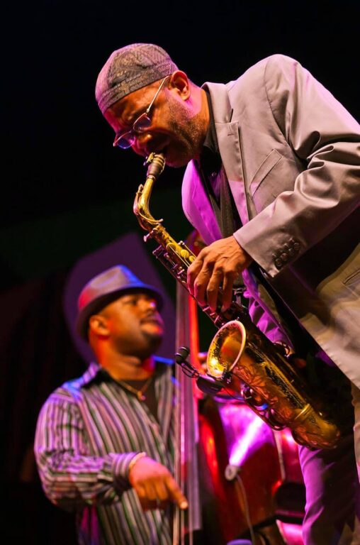 CHRISTIAN MCBRIDE plays base and KENNY GARRETT on Saxophone with CHICK COREA on the Jimmy Lyons Stage - 2010 MONTEREY JAZZ FESTIVAL, CALIFORNIA