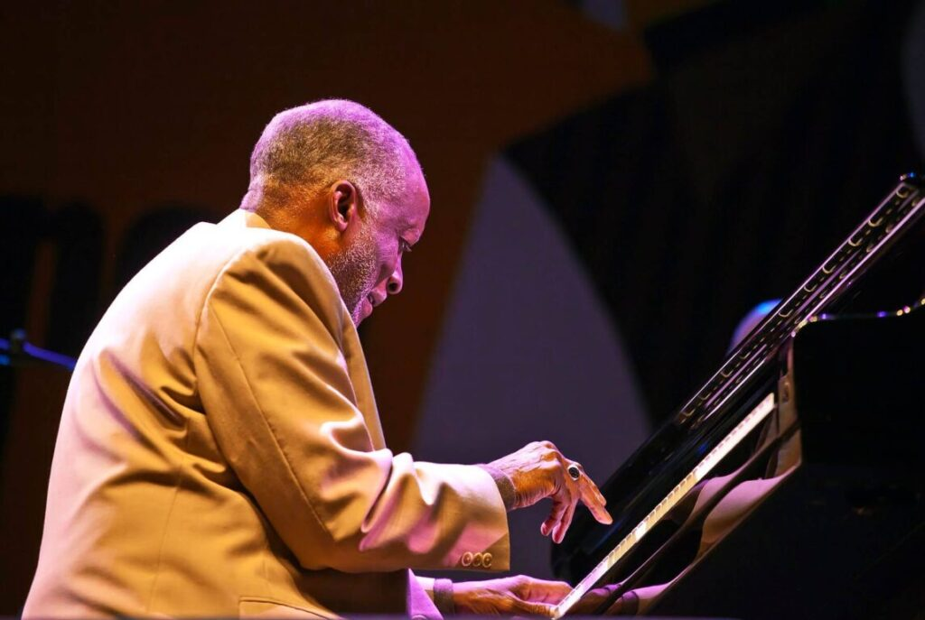 AHMAD JAMAL plays piano with his band on the Jimmy Lyons Stage - 2010 MONTEREY JAZZ FESTIVAL, CALIFORNIA