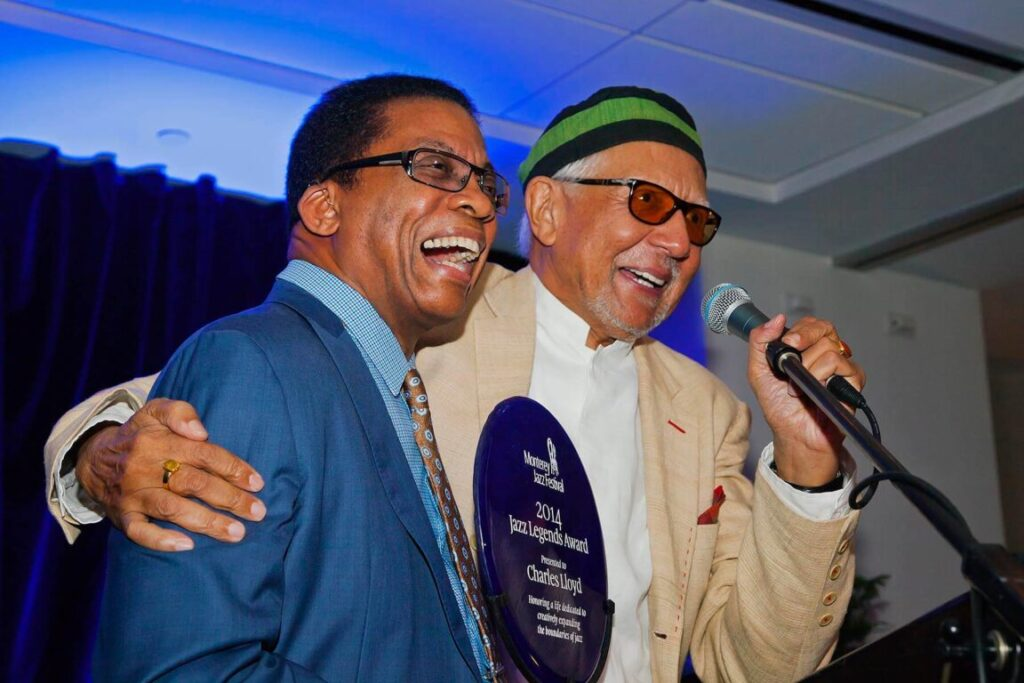 HERBIE HANCOCK present the 2014 JAZZ LEGENDS AWARD to CHARLES LLOYD at the 57 ANNUAL MONTEREY JAZZ FESTIVAL GALA