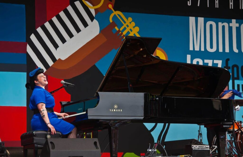 DAVINA SOWERS of DAVINA AND THE VAGABONDS preforms on the main stage at the MONTEREY JAZZ FESTIVAL