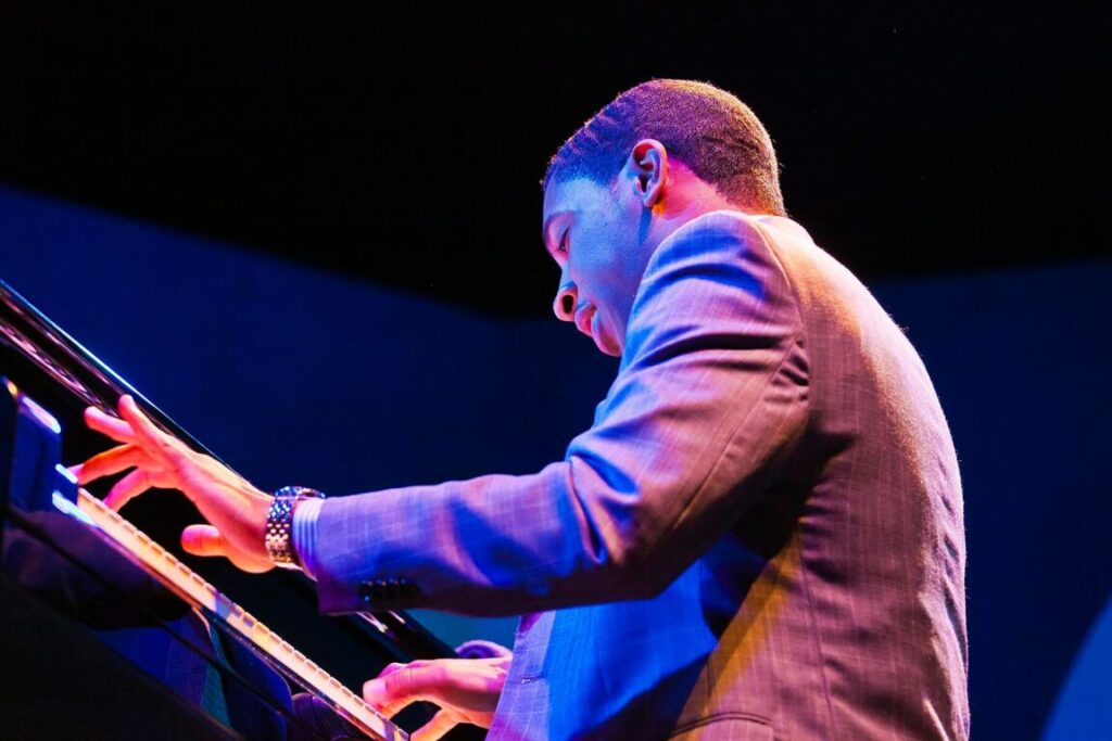 CHRISTIAN SANDS on grand piano with Geri Allen and the Errol Garner Project performing at the 58th Monterey Jazz Festival - California