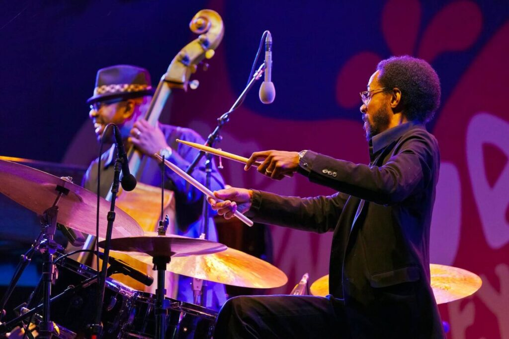 BRIAN BLADE on drums and CHRISTIAN MCBRIDE with Chic Corea performing at the 58th Monterey Jazz Festival - California