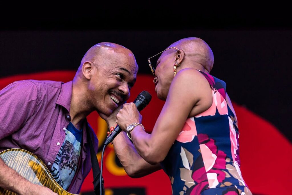 CHARLTON JOHNSON on guitar with DEE DEE BRIDGEWATER singing with her new band MEMPHIS - MONTEREY JAZZ FESTIVAL, CALIFORNIA