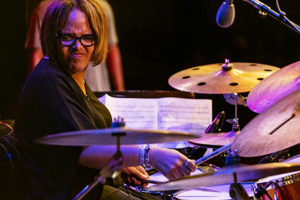 TERRI LYNE CARRINGTON plays drums during a tribute to Geri Allen at the 61st MONTEREY JAZZ FESTIVAL - MONTEREY, CALIFORNIA