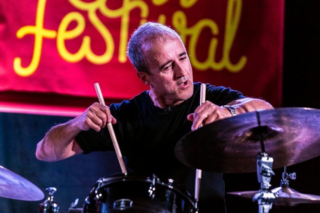 BOBBY PREVITE plays drums for the JANE IRA BLOOM QUARTET at the 61st MONTEREY JAZZ FESTIVAL - MONTEREY, CALIFORNIA