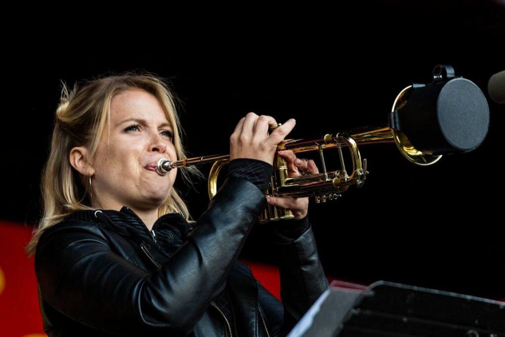 BTIA SKONBERG on trumpet at the 61st Monterey Jazz Festival - MONTEREY, CALIFORNIA