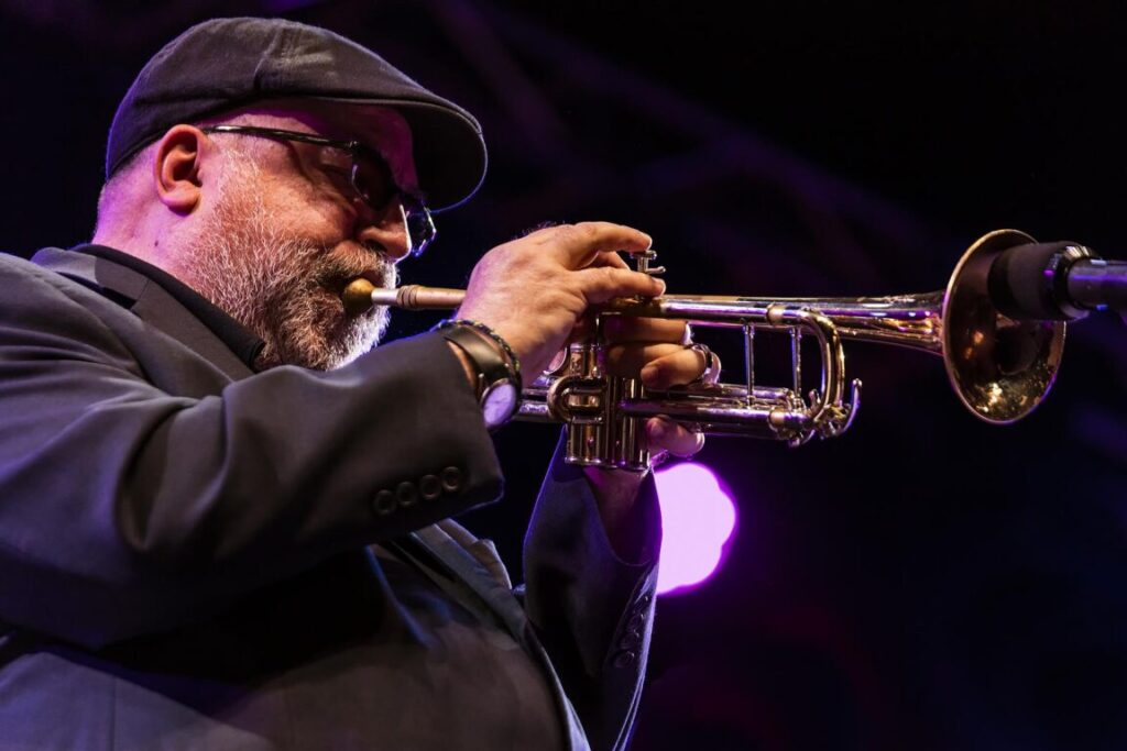 RANDY BRECKER plays trumpet for the CELEBRATION OF MICHAEL BRECKER on the main stage at the 61st MONTEREY JAZZ FESTIVAL - MONTEREY, CALIFORNIA
