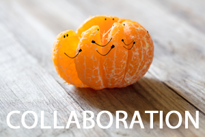 A peeled orange with the individual slices hugging each other, with collaboration in white text underneath them.