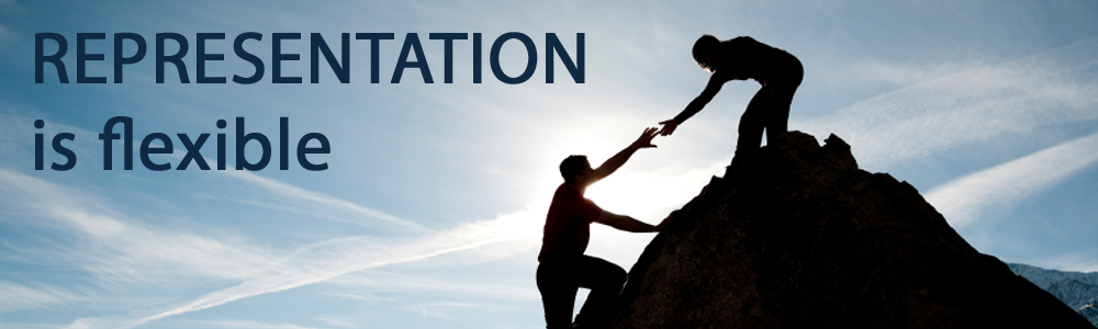 A silhouette of a women helping a man up a mountain in front of a blue sky. To the left of them it says representation is flexible in navy blue next.