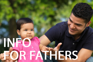A man and his toddler daughter with a blurred woodland background, it says Information for fathers in white text.