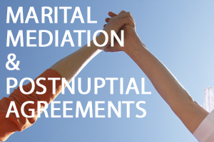 Two people holding their arms towards the sky, with martial mediation and postnuptial agreements written in front of them in white text.