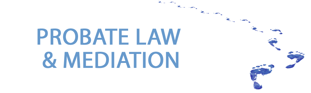A blue trail of bare footprints. With probate law and mediation written to the left of it in light blue text.