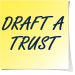 A yellow sticky note that says draft a trust in black text