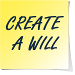 A yellow sticky note that says create a will in black text