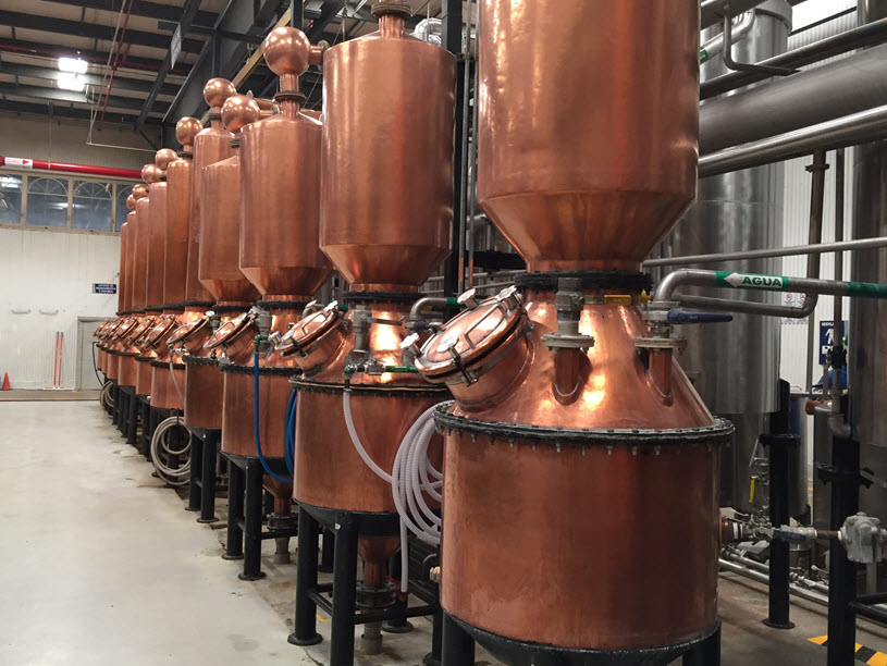 Destilación en alambiques de cobre tequila patron