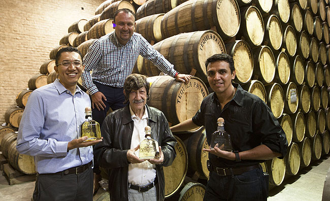 At the distillery in Jalisco, Production Manager Antonio Rodriguez (right) with production teammates Ismael Solis, Francisco Alcaraz and David Rodriguez.
