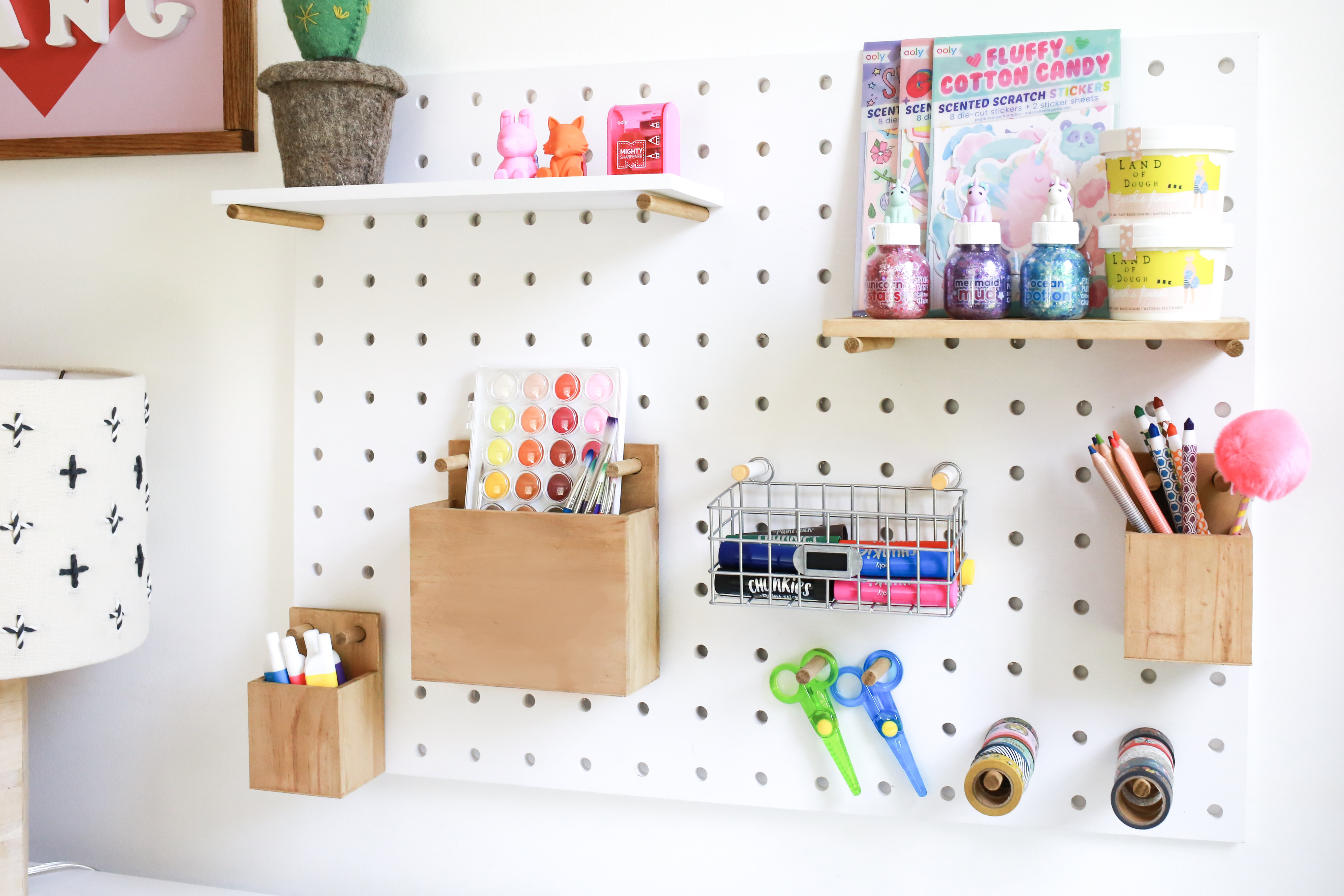 art space for kids, peg board projects
