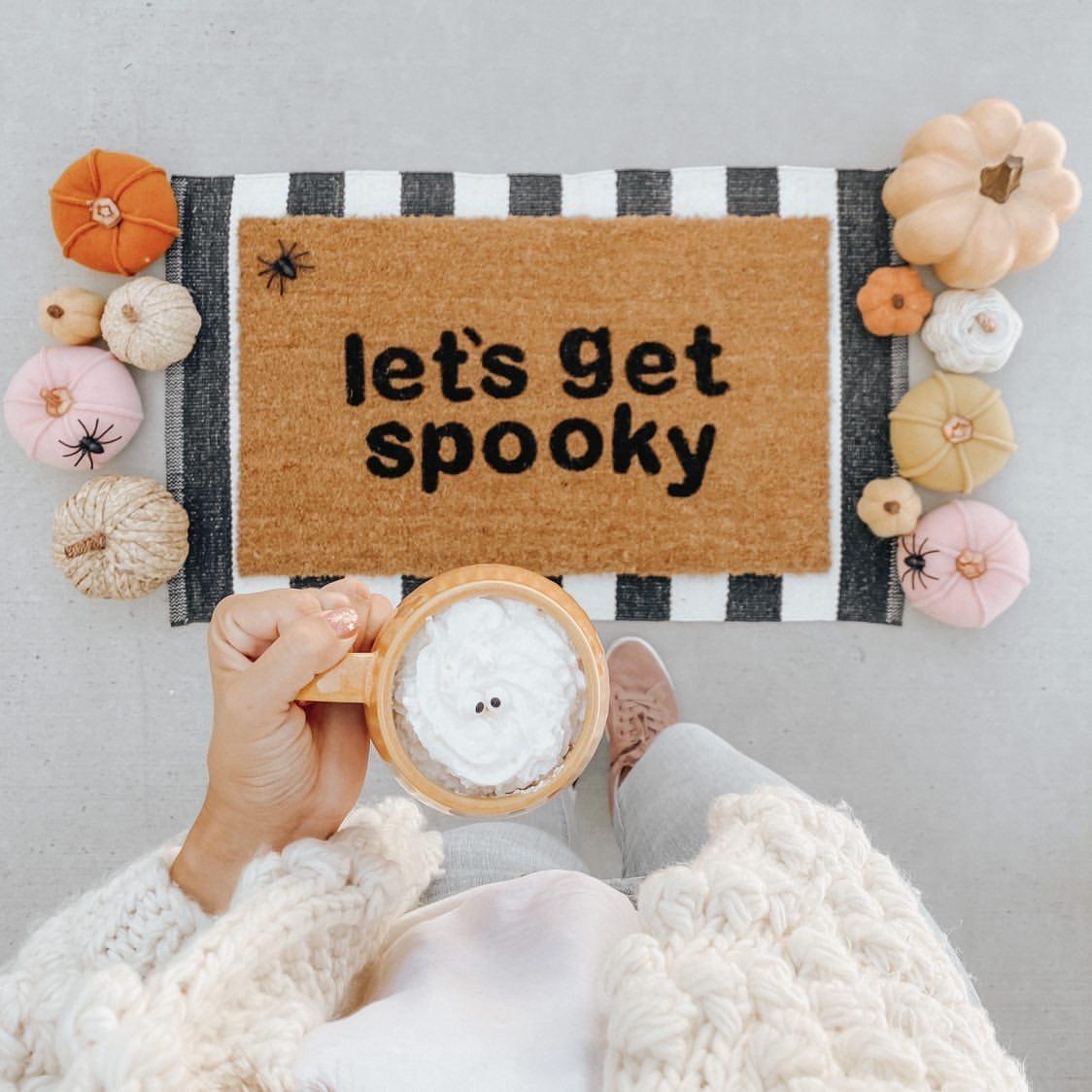 let's get spooky halloween doormat DIY project