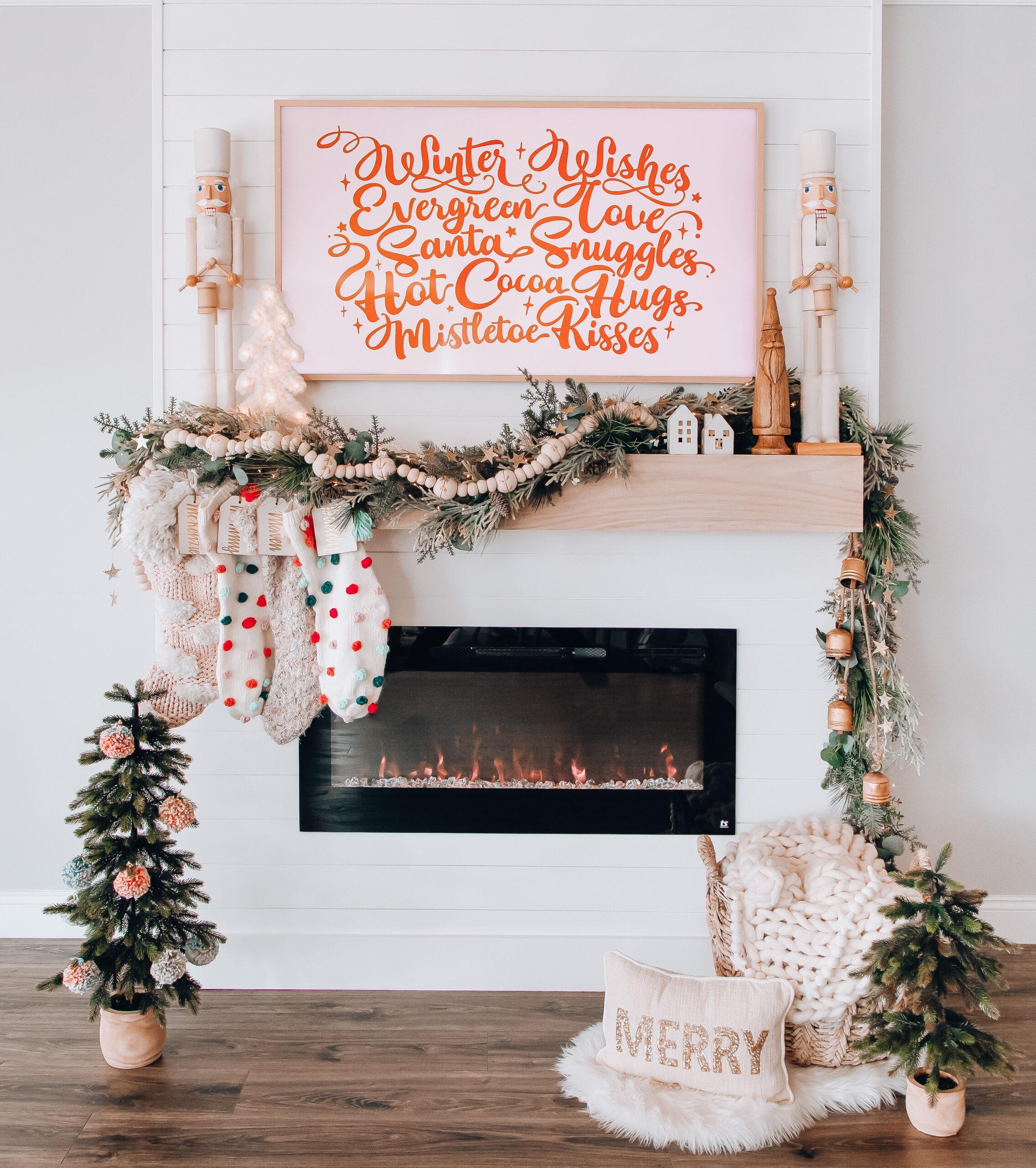 DIY Christmas mantel, boho christmas mantel, neutral mantel decor