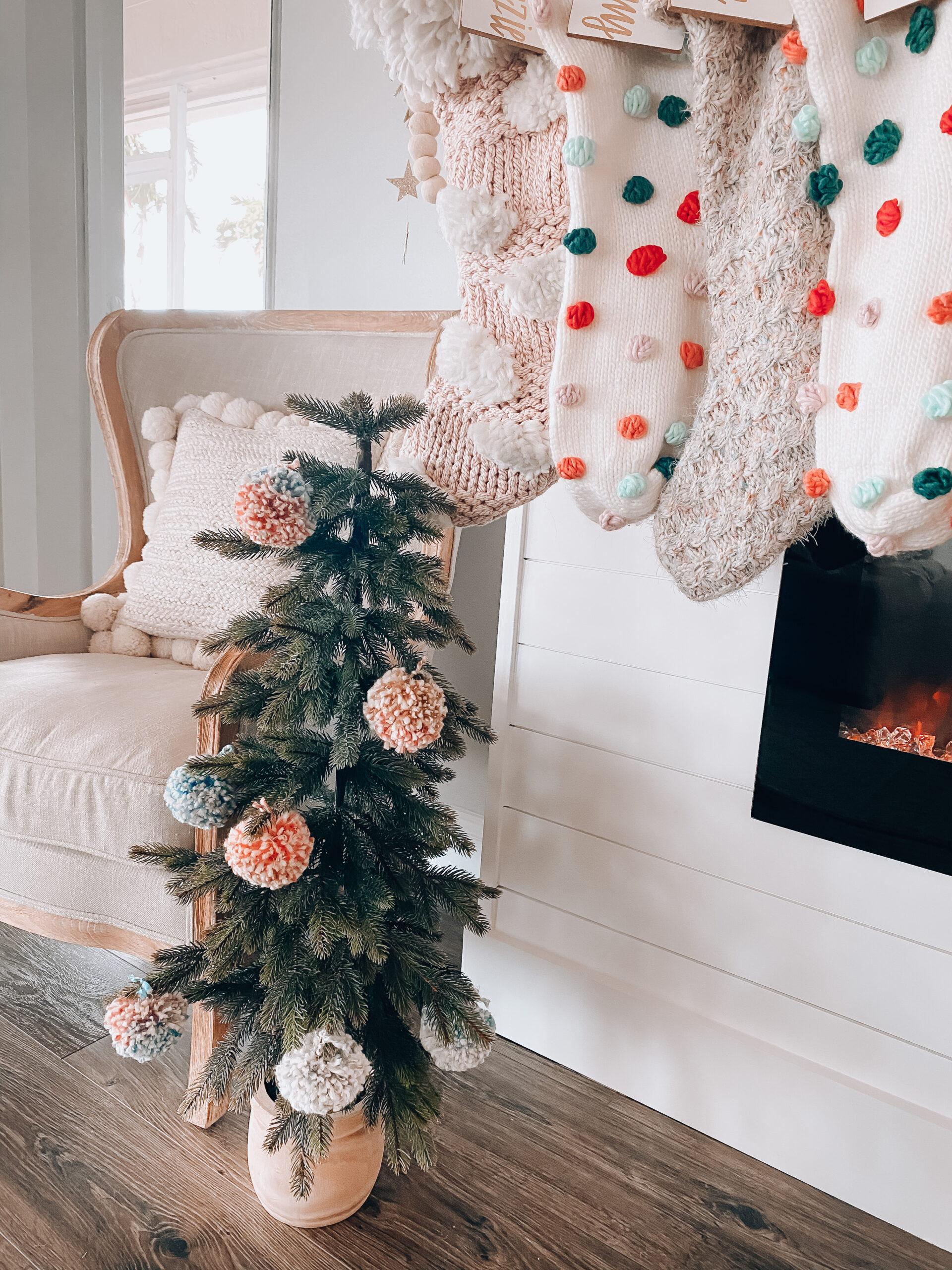 Mini Christmas tree with pom pom ornaments