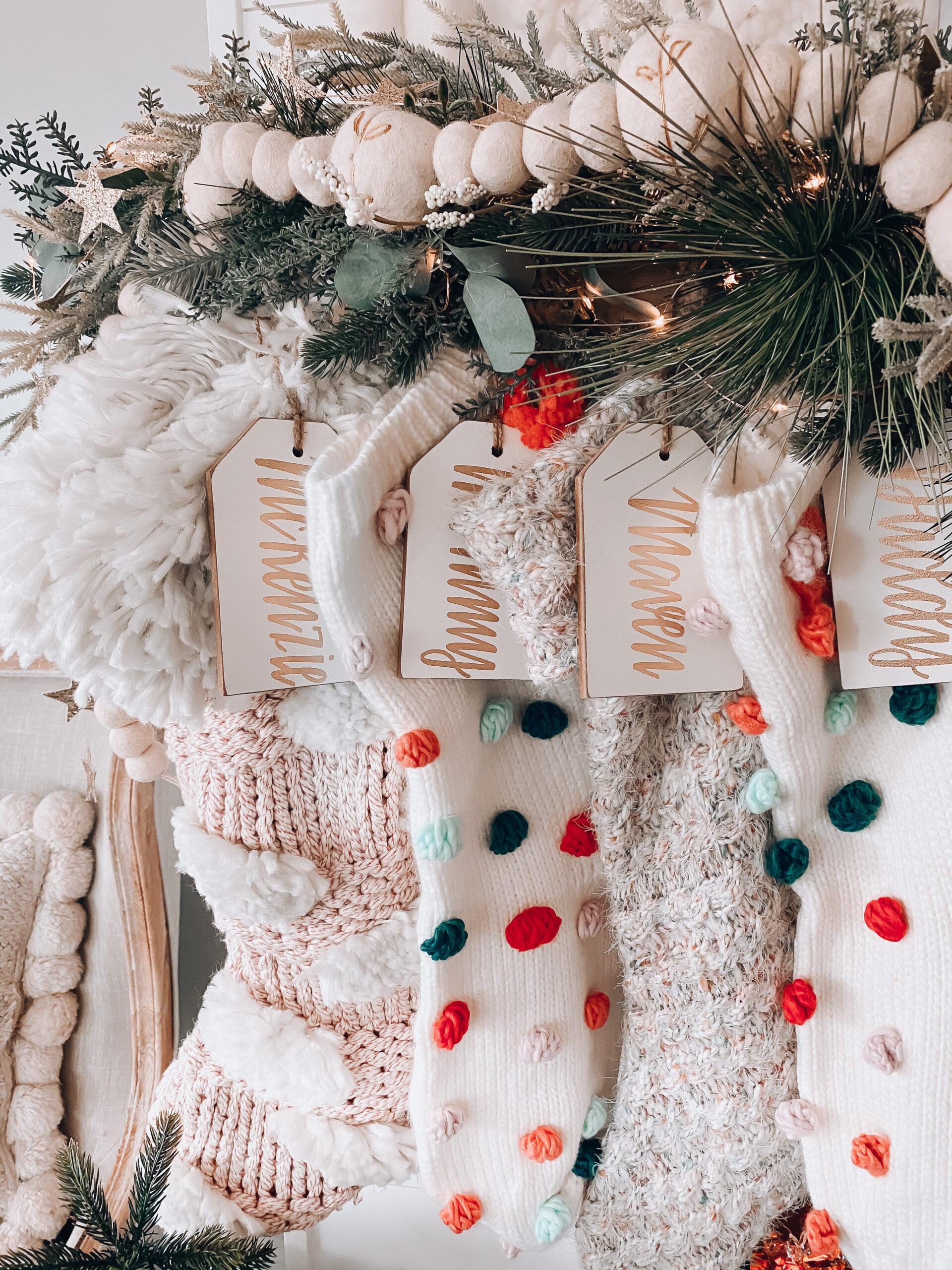 Boho Christmas mantel stockings for the family