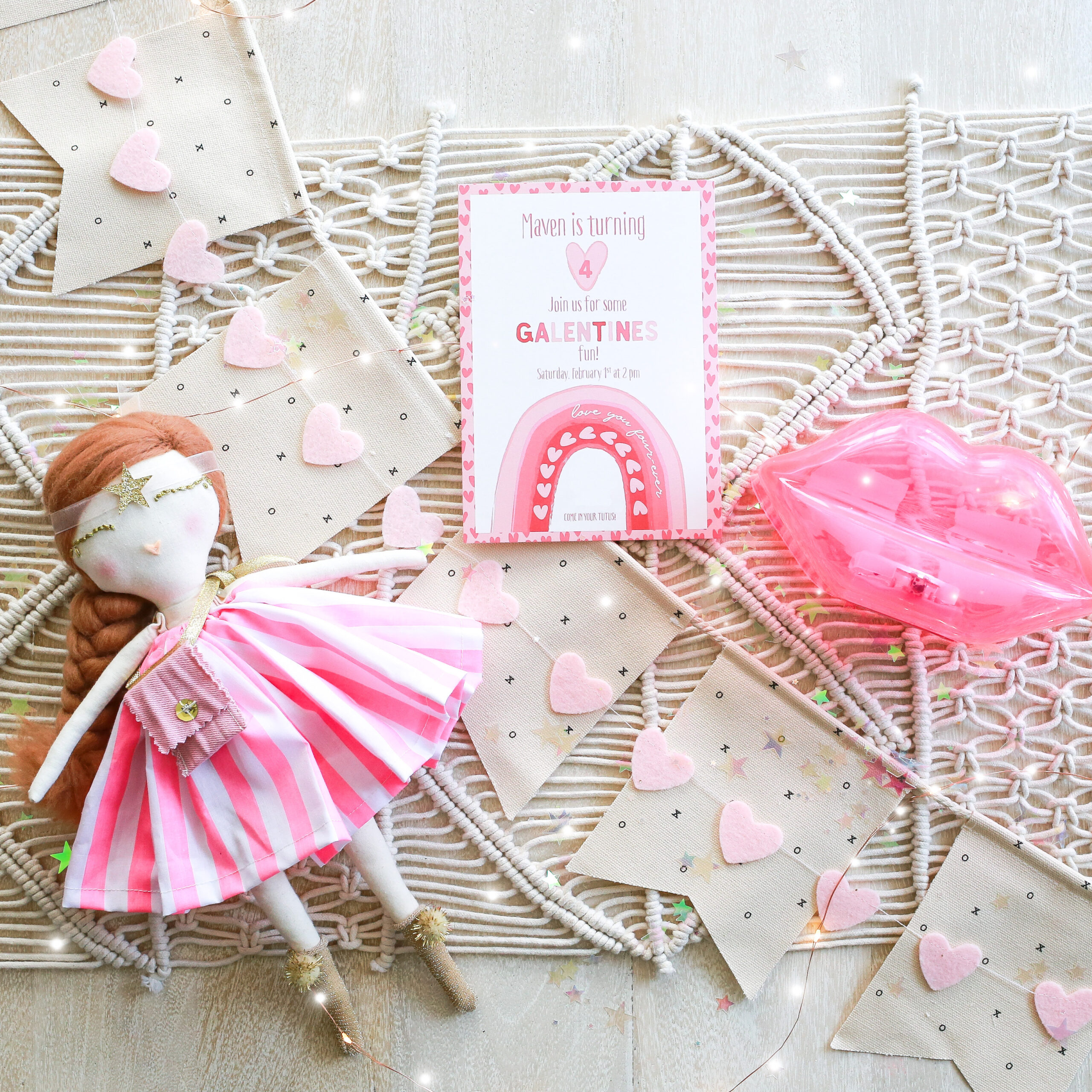 Valentine Birthday Party Invitation with doll and light up lips.