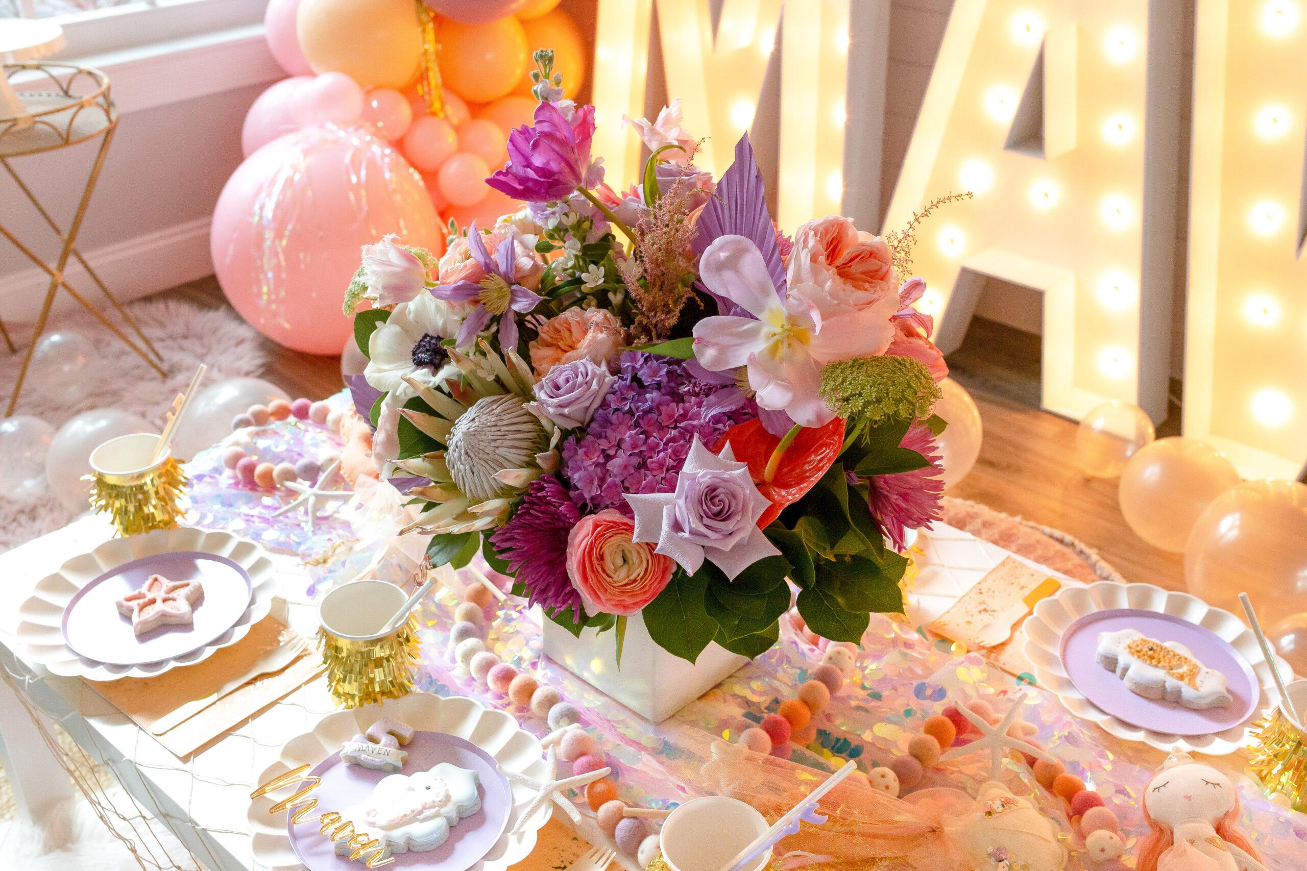 Mermaid Birthday Party Flower Centerpiece