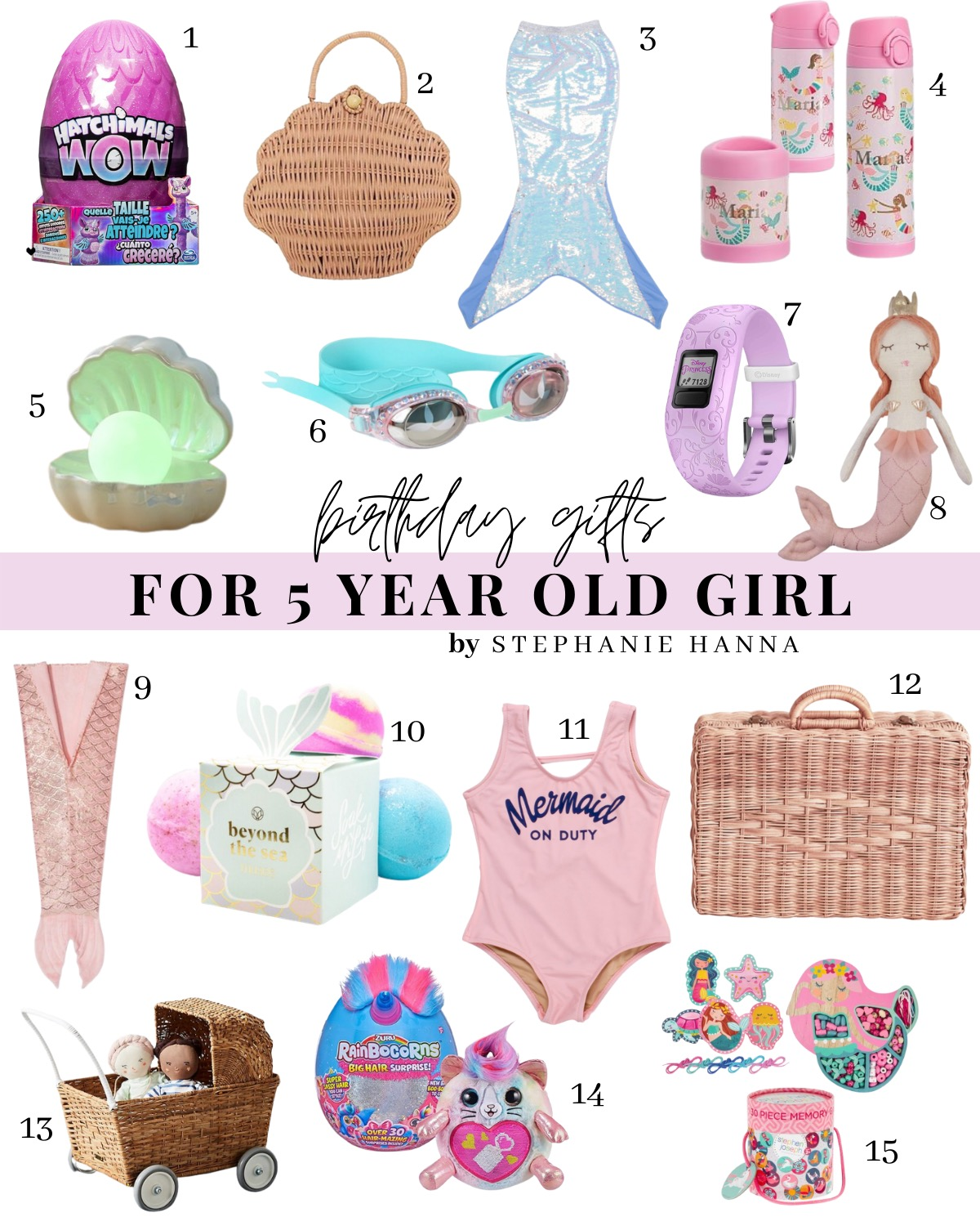 Mermaid Party Gift Guide, 5th birthday party ideas, birthday gifts for 5 year old girls