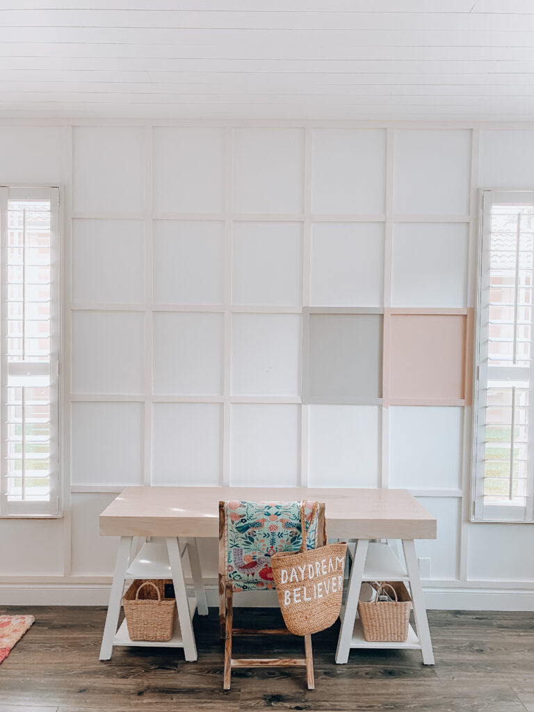 Board and Batten grid wall for the home, DIY board and batten wall