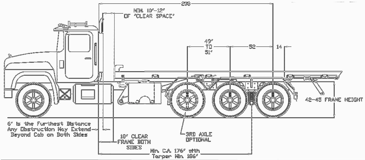 Rudco Roll-off Hoist Dimensions