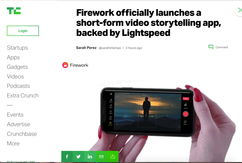 Firework in Tech Crunch